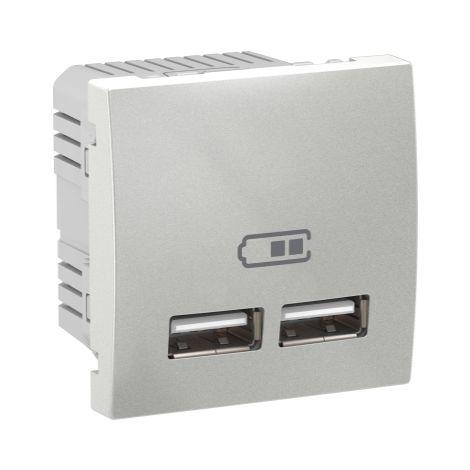 Cargador para empotrar USB 2,1 A Alu SCHNEIDER ELECTRIC MGU3.418.30