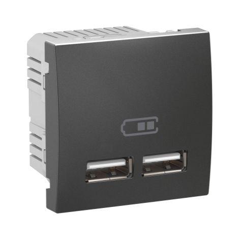 Cargador para empotrar USB 2,1 A Grafito SCHNEIDER ELECTRIC MGU3.418.12