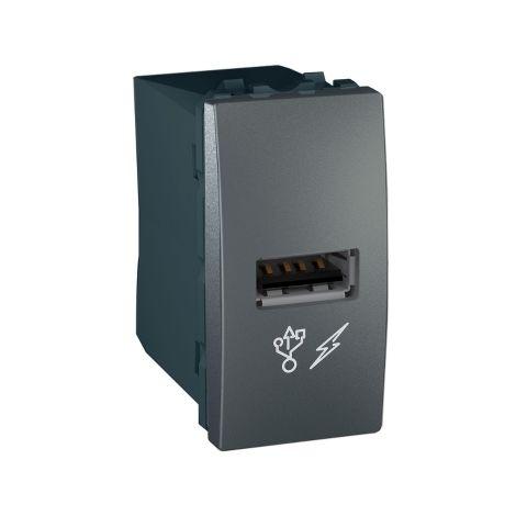 Cargador simple USB 1 A Unica Grafito SCHNEIDER ELECTRIC MGU3.428.12