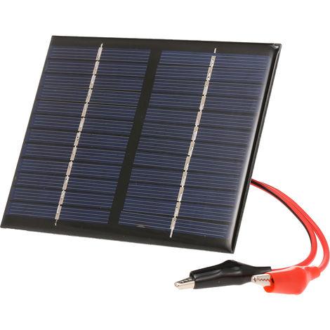Cargador solar 1.5W / 12V, con pinza cocodrilo Panel solar policristalino compacto
