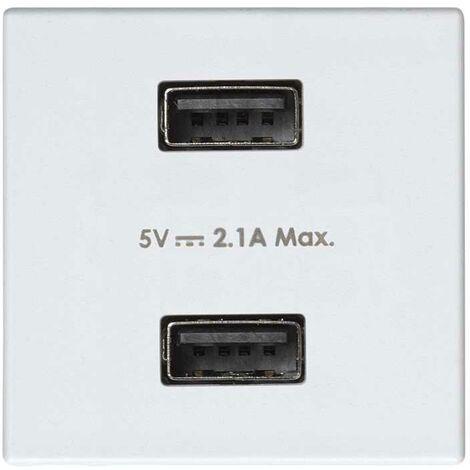 Cargador USB doble 5V/DC 2.1A tipo A hembra blanco Simon 27 Play