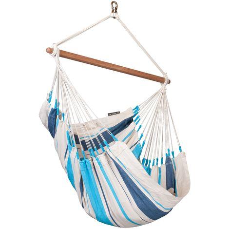 Caribeña Aqua Blue - Chaise-hamac basic en coton - Bleu / turquoise