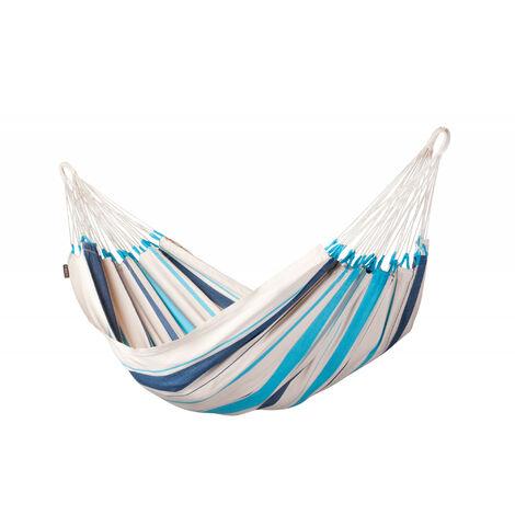 Caribeña Aqua Blue - Hamac classique simple en coton - Bleu / turquoise