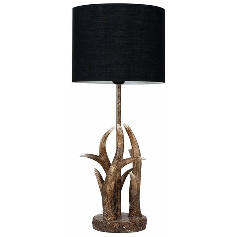 Caribou Antler Table Lamp In A Natural Finish + Black Light Shade - Brown