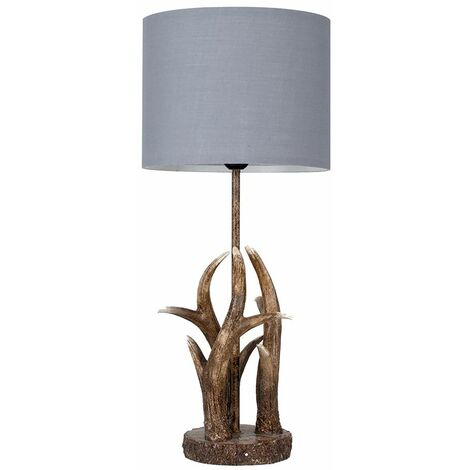 Caribou Antler Table Lamp In A Natural Finish + Grey Light Shade - Brown