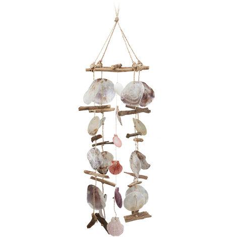 Carillon à coquillages bois flotté mobile coquillages guirlande Décoration à suspendre, coloré