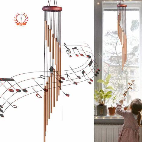 Carillon à vent en plein air avec crochets Cloche à vent avec vent en métal Cadeau pour jardin, terrasse, porche ou arrière-cour Décoration de Noël