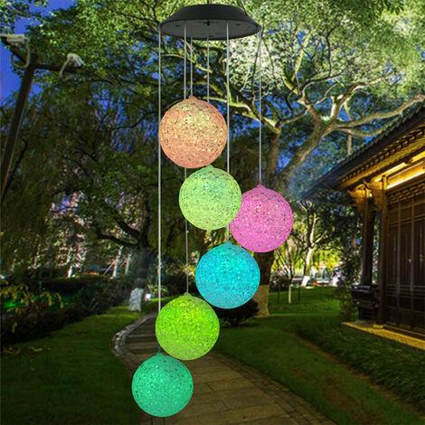 Carillon à vent solaire LED carillon à vent colibri transparent changeant de couleur étanche, jardin, fête, décor Patio Yard pelouse etc.