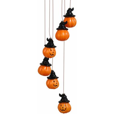 Carillon De Vent Led Solaire, Lustre Etanche Exterieur, Lumiere De Jardin De Paysage De Villa, Ip66 Lumiere Chaude, D'Halloween Citrouille