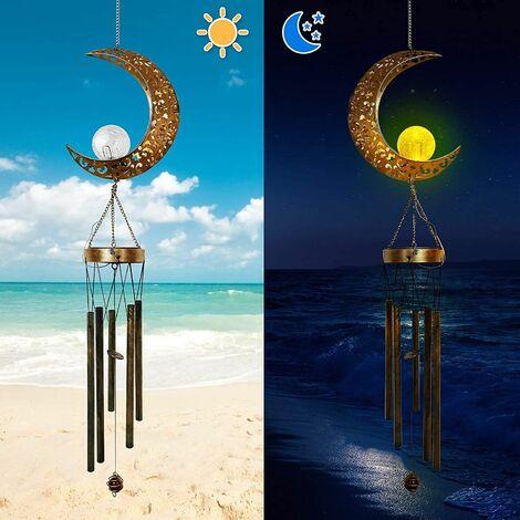 Carillon de vent solaire de lune extérieur - boule de verre craquelée de lune carillon de vent de jardin patio décor extérieur carillons de vent suspendus veilleuse solaire ton profond Memorial vent cloche sympathie pour maman grand-mère cadeau d'annivers