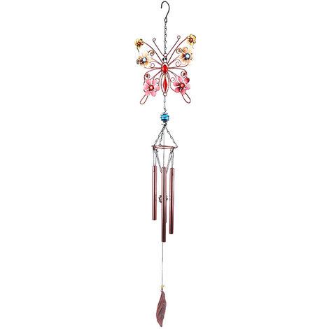 Carillon de viento de cristal mariposa colgantes ornamento en forma de relajacion multi-tubo de Repiques de Viento de Accion de Gracias Dia Inicio Jardin Balcon, tipo 1
