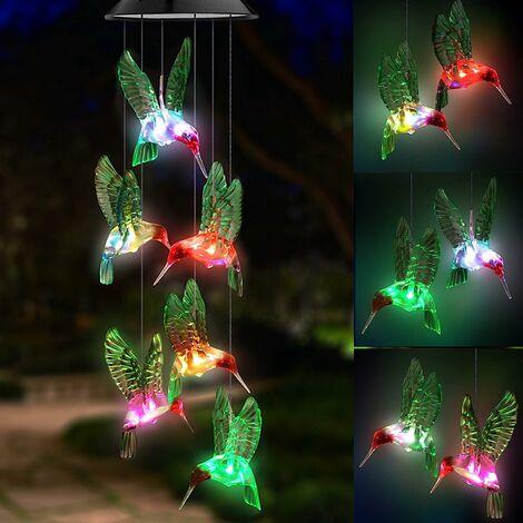 Carillon éolien solaire à LED, changement de couleur étanche Six carillons éoliens colibri pour la décoration de jardin de nuit à la maison (oiseaux colibris verts)