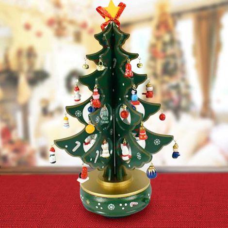 Immagini Addobbi Albero Di Natale.Carillon Natalizio Albero Di Natale Legno Con Addobbi 33cm Decorazioni Natalizie