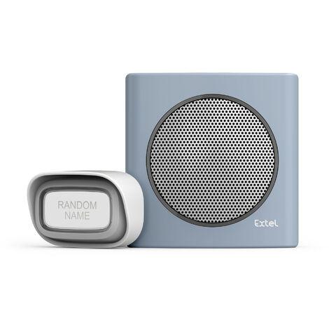 Carillon sans fil avec portée de 200m et 6 sonneries au choix - Extel diBi Flash Soft - Bleu