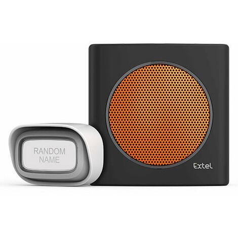 Carillon sans fil avec portée de 200m et 6 sonneries au choix - Extel diBi Flash Soft - Orange