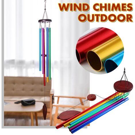 Carillons éoliens AUGIENB en plein air, carillons en bois faits à la main de 29 pouces avec 6 tubes creux en métal et crochet suspendu, décor extérieur pour la maison / cour / patio / jardin