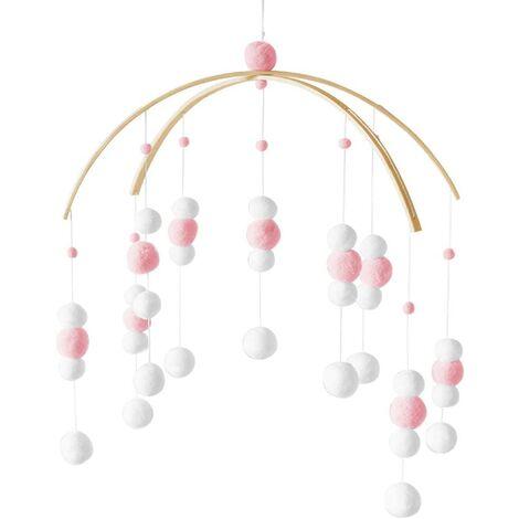 Carillons Éoliens en Feutre, Carillon Bebe Lit, Lit Boules de Feutre Mobile, Cloche à Vent en Feutre, Mobile Lit Bébé Fille Garçon (gris)