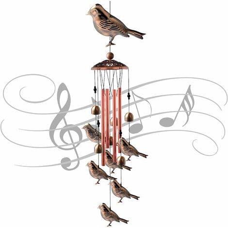 Carillons éoliens pour oiseaux Unique 4 tubes en aluminium creux Cloches à vent et carillons éoliens pour oiseaux pour l'intérieur et l'extérieur Fabriqués en métal étanche Décoration de jardin Carillons éoliens 32 pouces