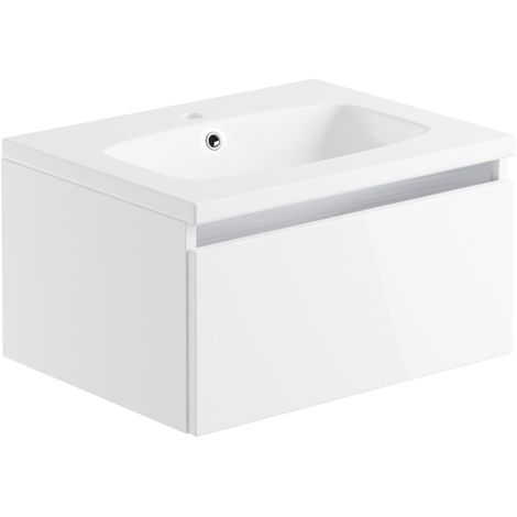 Carino 600mm 1 Drawer Wall Hung Unit & Basin - White Gloss