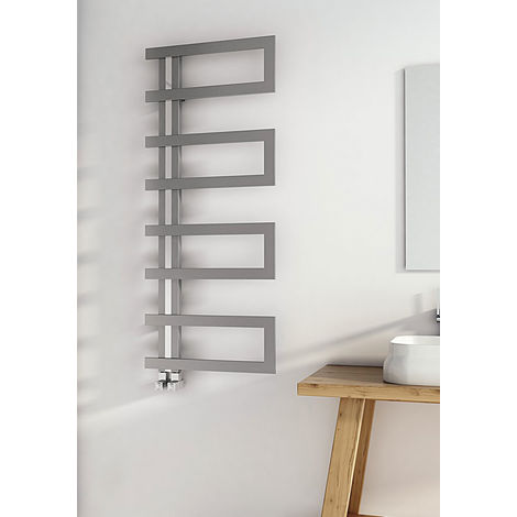 Carisa Arlen Brushed Stainless Steel Designer Heated Towel Rail 1000mm x 500mm Dual Fuel - Thermostatic