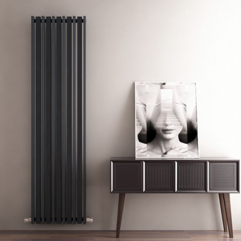Carisa Barkod Steel Vertical Designer Radiator 1800mm x 470mm Electric Only - Thermostatic - Textured Anthracite