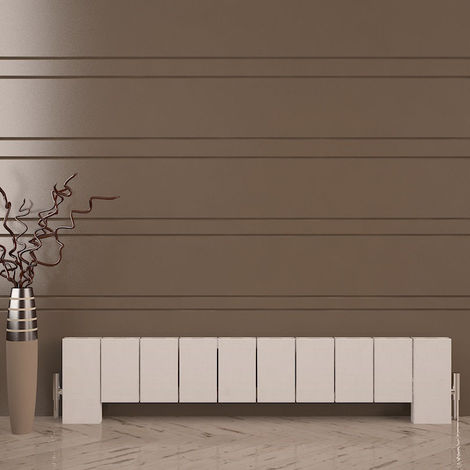 Carisa Elvino Floor Aluminium Horizontal Designer Radiator 300mm x 1245mm - Textured White