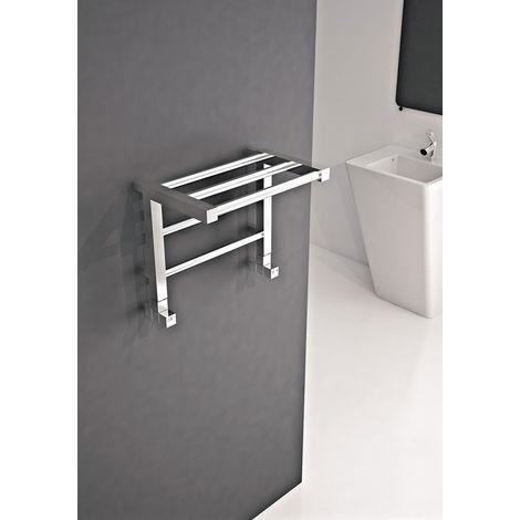 Carisa Etage Chrome Designer Heated Towel Rail 800mm x 500mm Dual Fuel - Thermostatic