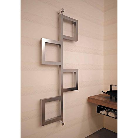 Carisa Flap Brushed Stainless Steel Designer Heated Towel Rail 850mm x 840mm
