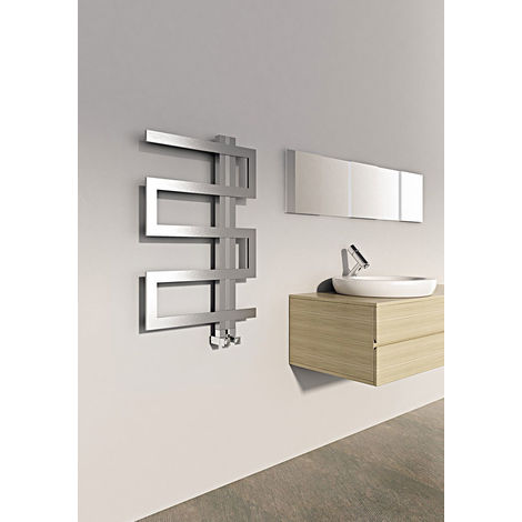 Carisa Ibiza Brushed Stainless Steel Designer Heated Towel Rail 440mm x 500mm Central Heating