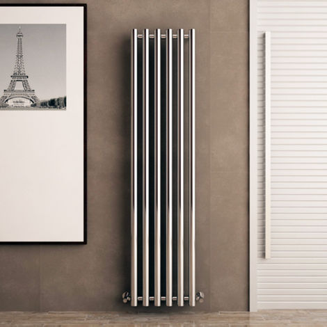 Carisa Mayra Steel Chrome Vertical Designer Radiator 1800mm x 420mm Electric Only - Thermostatic
