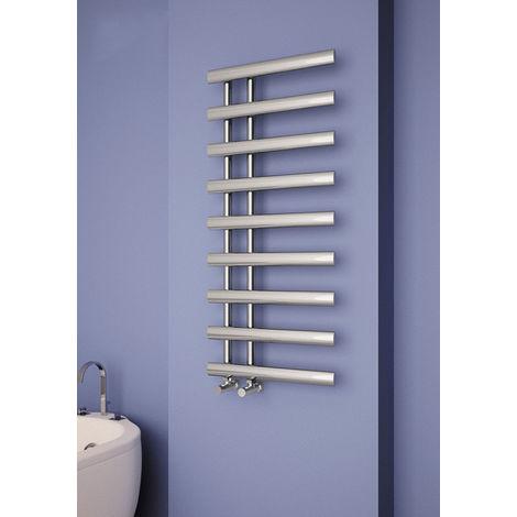 Carisa Nero Chrome Designer Heated Towel Rail 800mm x 500mm Dual Fuel - Thermostatic