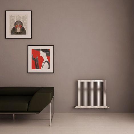 Carisa Stripe Brushed Stainless Steel Horizontal Designer Radiator 600mm x 595mm Central Heating