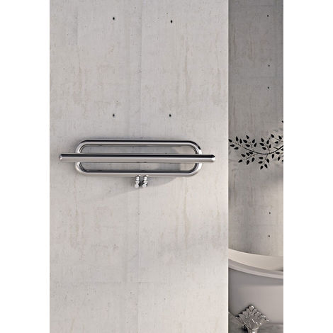 Carisa Swing Polished Stainless Steel Designer Heated Towel Rail 1000mm x 250mm