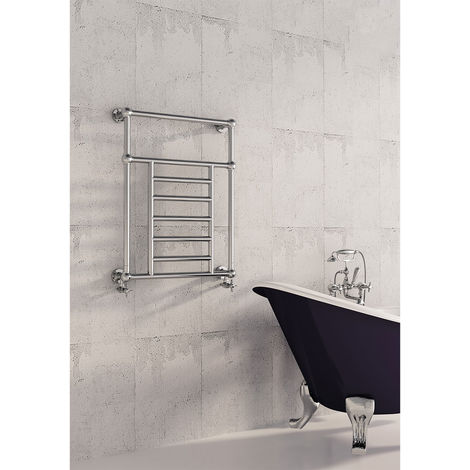 Carisa Vintage Wall Mounted Traditional Heated Towel Rail 800mm x 650mm Chrome