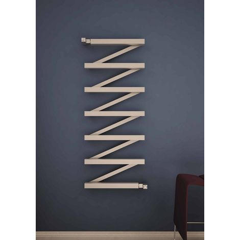 Carisa Zigzag Polished Stainless Steel Designer Heated Towel Rail 640mm x 500mm