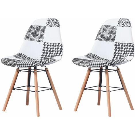 CARLA - Lot de 2 chaises scandinave - Tissu - Noir/Blanc - pieds en bois et metal design salle a manger salon - 53 x 46 x 82 cm