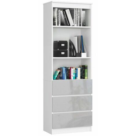 CARLO - Grande bibliothèque moderne - 2 étagères + 3 tiroirs - 180x60x35cm - Rangement livres/déco - Blanc