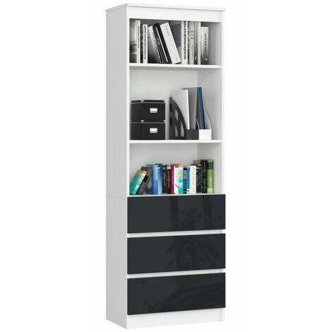 CARLO - Grande bibliothèque moderne - 2 étagères + 3 tiroirs - 180x60x35cm - Rangement livres/déco - Gris