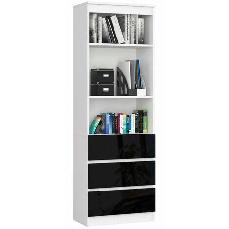 CARLO - Grande bibliothèque moderne - 2 étagères + 3 tiroirs - 180x60x35cm - Rangement livres/déco - Noir