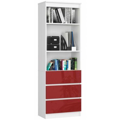 CARLO - Grande bibliothèque moderne - 2 étagères + 3 tiroirs - 180x60x35cm - Rangement livres/déco - Rouge