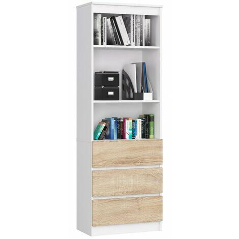 CARLO - Grande bibliothèque moderne - 2 étagères + 3 tiroirs - 180x60x35cm - Rangement livres/déco - Sonoma
