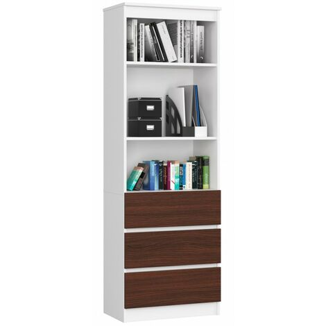 CARLO - Grande bibliothèque moderne - 2 étagères + 3 tiroirs - 180x60x35cm - Rangement livres/déco - Wengé