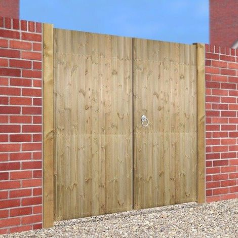 Carlton Tall Flat Top Wooden Double Gate 1800mm H X 2100mm W