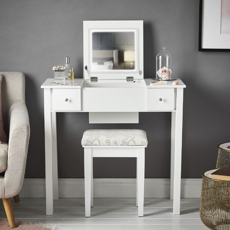 CARME Coco - White Dressing Table with Flip Top Mirror LED Lights 2 Drawers Stool Set Makeup Organiser?