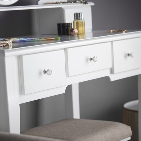 CARME Luna White Hollywood LED Dressing Table with Mirror Stool Makeup Jewellery