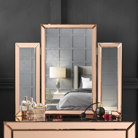 CARME Paloma Tri-Fold Mirror Bevelled Glass Design Folded Tabletop Makeup Bedroom Dressing Vanity Table (Rose Gold)