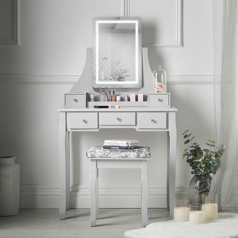 """main image of """"CARME Savannah Grey Dressing Table with Touch Mirror LED Light 5 Drawers Stool Set Vanity Dresser Bedroom Furniture Makeup Jewellery Storage"""""""
