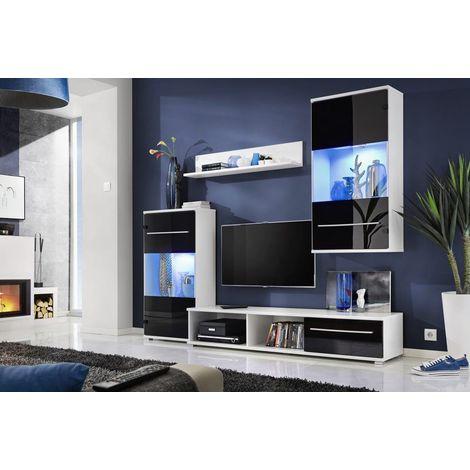 CARMI   Unité murale style contemporain 4 pcs   Éclairage LED inclus   Mur TV   Ensembles meubles salon séjour   Meuble bas TV - Noir/Blanc