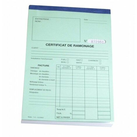Carnet certificat annuel ramonage