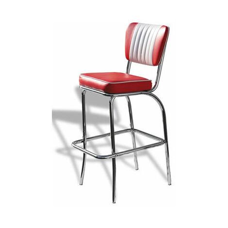 "main image of ""Carolina Quality Retro Padded Kitchen Bar Stool Chrome Legs Pre Assembled"""